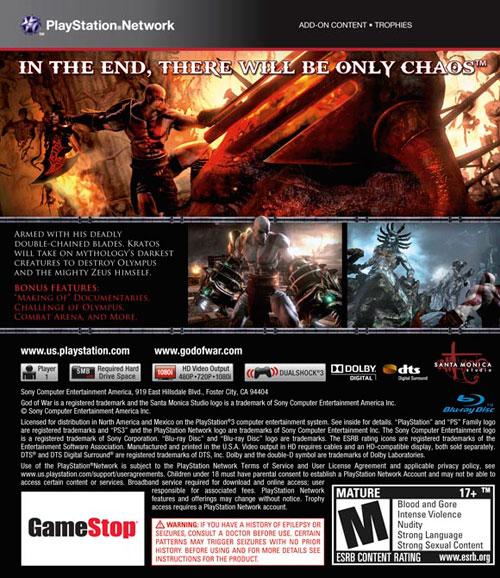 【PS3】《战神3》封底确认,欲购买的同学注意下游戏细节