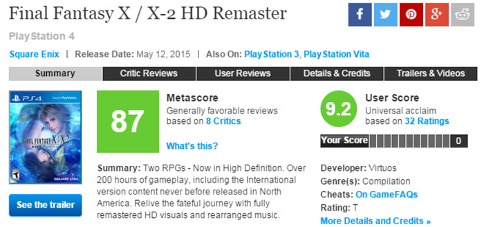 【业界】《最终幻想10/10-2》高清重制版IGN9.3分!Meta87分