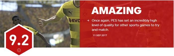 【业界】《实况足球2018》获IGN9.2评分:足球游戏学习榜样